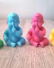 baby zeepje vinger mond blauw roze groen geel babyshower